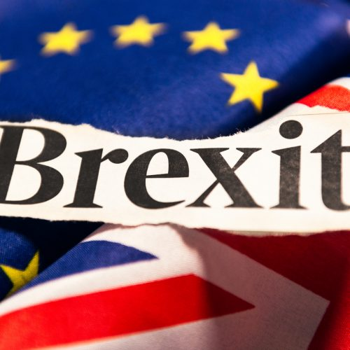 The word 'Brexit' from a newspaper headline, following the UK decision to leave the European Union, following a public referendum held on 23rd June 2016.